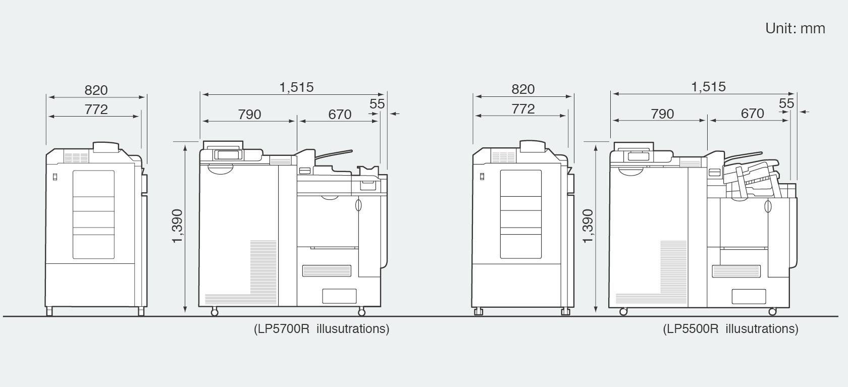 [imagen] Dimensiones del minilab digital Frontier LP5700R/LP5500R