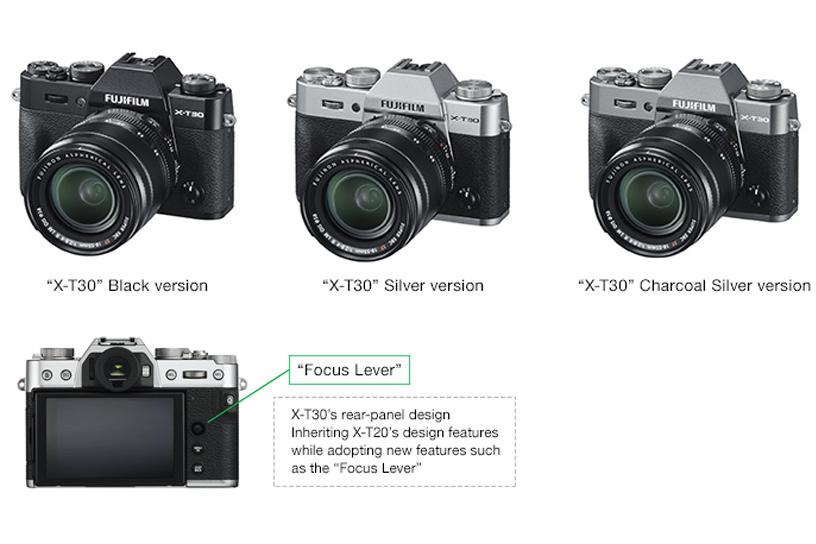 "[Photo]""X-T30"" Black version / ""X-T30"" Silver version / ""X-T30"" Charcoal Silver version / X-T30's rear-panel design"