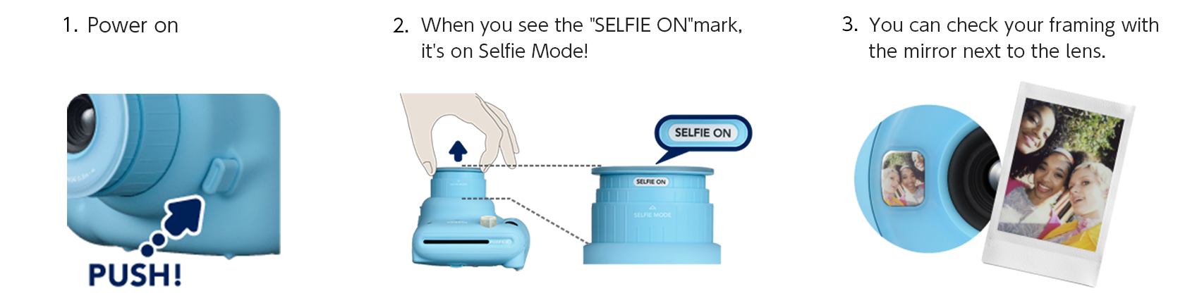 [image] Press power button on side of lens, twist lens to turn Selfie Mode on, and use small mirror next to lens to check framing of photo