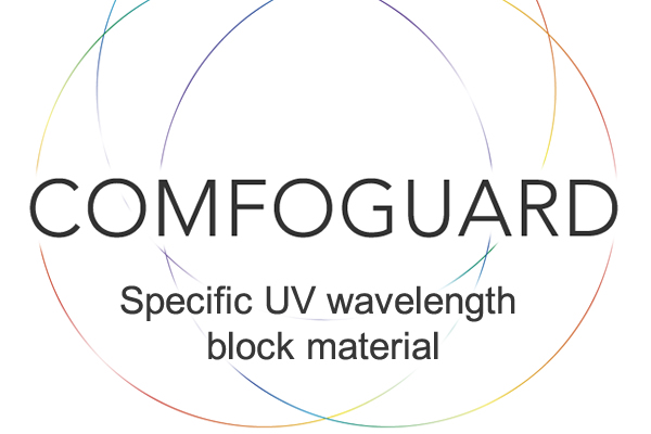 [photo] Multi-colored thin bordered interlocking circles with COMFOGUARD text in the center and specifc UV wavelength block material underneath