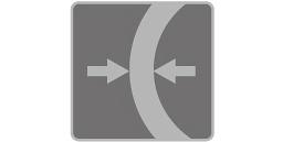 [imagen] Una flecha a la izquierda y una flecha a la derecha, enfrentadas y separadas por una pared gruesa semirredondeada