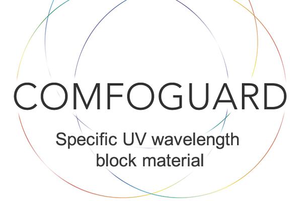 [fotografía] Círculos entrelazados multicolor con bordes finos, texto COMFOGUARD en el centro y material de bloqueo de longitudes de onda UV específicas debajo