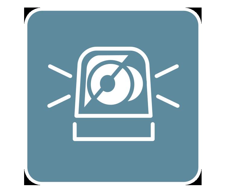 [imagen] Esbozo digital contorno blanco, alarma de emergencia sonando sobre fondo de color verde azulado