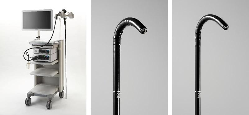 【製品画像】左:ELUXEO(エルクセオ)システム、中:下部消化管用拡大スコープ EC-760Z-V/M、右:下部消化管用極細径スコープ EC-760XP/L