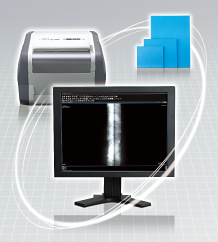 [image] A computer monitor with imaging software, a printer and a stack of photos