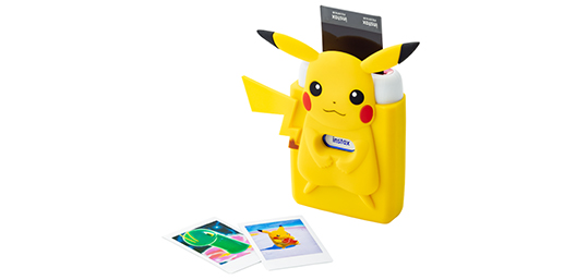 [image]Instax mini Link Ash White (Red & Blue) inserted in the specially designed silicone case featuring Pikachu