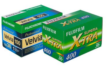 [photo] Fujichrome Velvia 100 and Fujifilm Super X-TRA400 film boxes