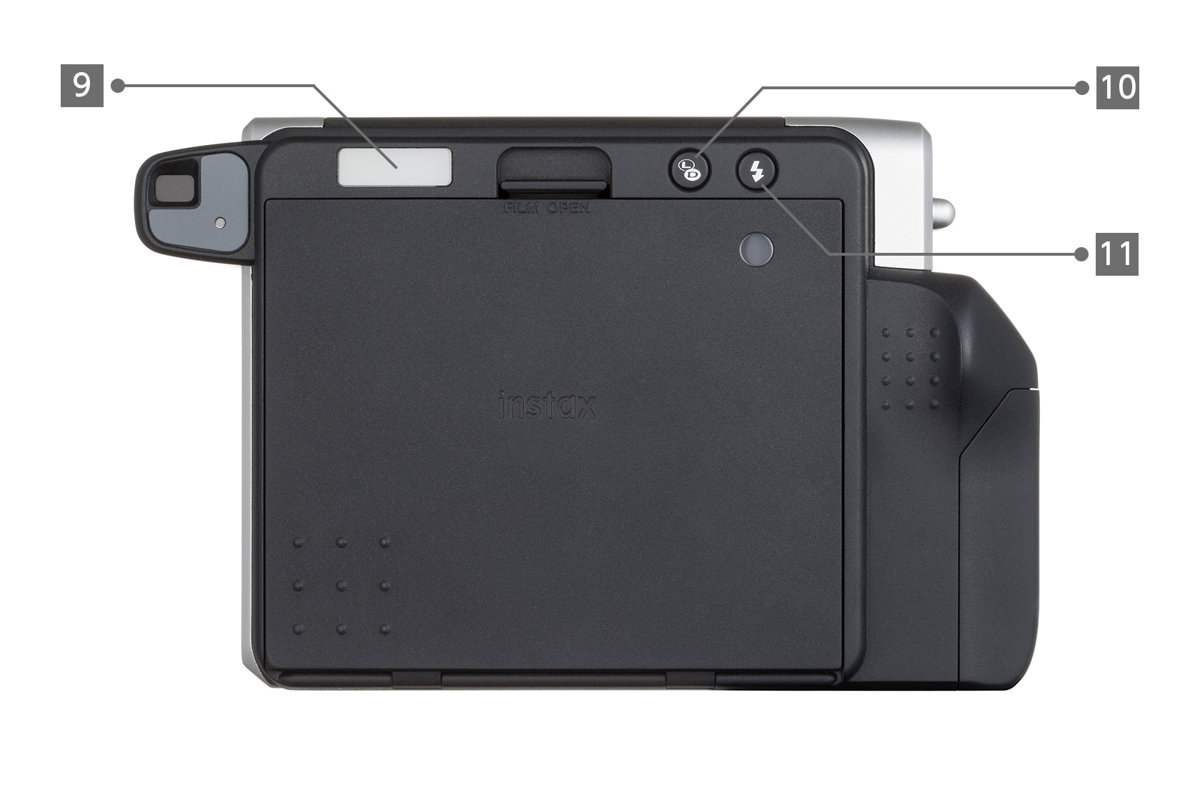 [photo] Rear view of a Black Instax Wide 300 with different parts labeled 9 through 11