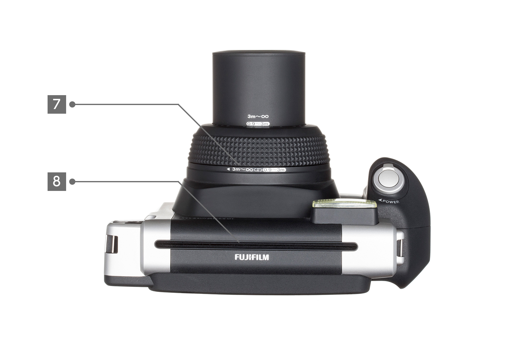 [photo] Top view of a Black Instax Wide 300 with different parts labeled 7 and 8