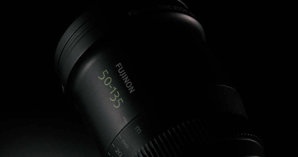 [photo] A top frontal view of an MK Series lens with Fujinon 50-135mm etched on the side