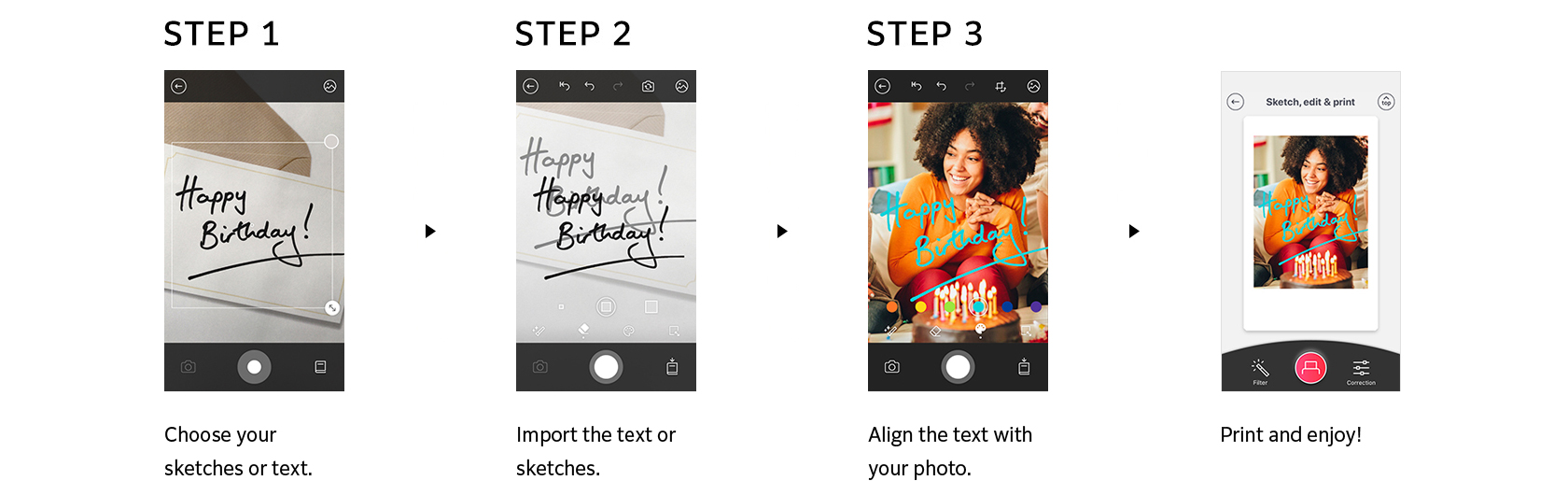 [photo] Take picture of text/sketch, import it, align text/sketch on photo, and print new photo with text/sketch on it