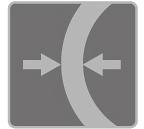 [immagine] Una freccia sinistra e una freccia destra l'una di fronte all'altra separate da una parete spessa semi-arrotondata