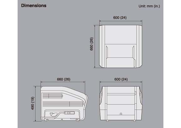 [immagine] Dimensioni superiori (600x620), laterali (660x490) e posteriori (600) in unità del software di visualizzazione/misurazione delle immagini Dynamix VU