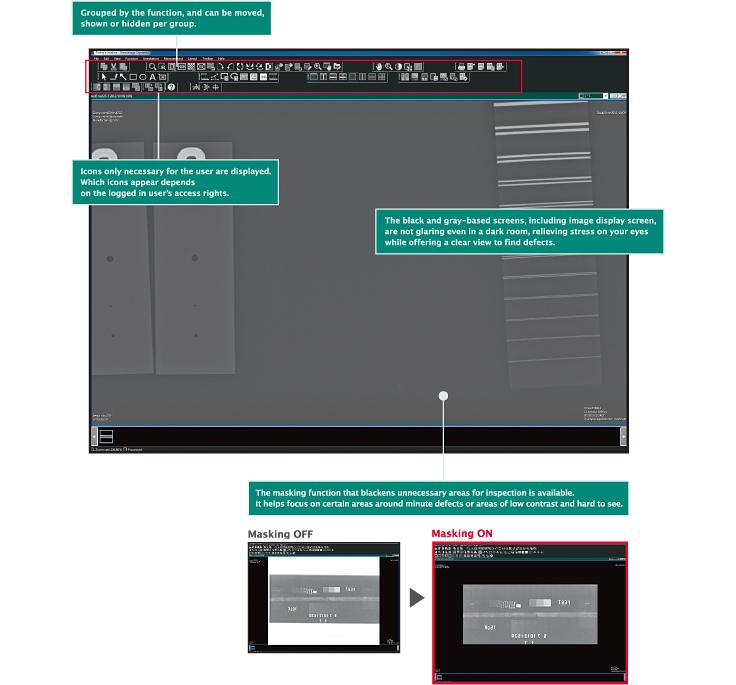 [immagine] Screenshot del software con il gruppo di icone delle funzioni e schermate con mascheramento on e off. Mascheramento on e icone evidenziate in rosso.