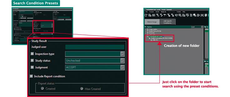 [immagine] Screenshot del software del menu Search condition (Condizione di ricerca) e un'evidenziazione del risultato dello studio con istruzioni su come creare una cartella e cercare una cartella facendo clic sulle condizioni preimpostate in rosso