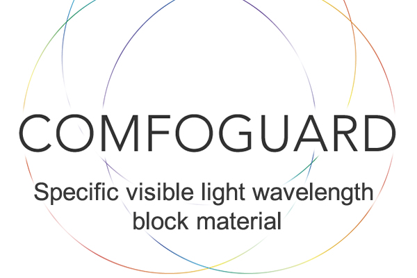 [foto] Cerchi intrecciati con bordi sottili multicolore con testo COMFOGUARD al centro e materiale di blocco della lunghezza d'onda della luce visibile specifica sotto