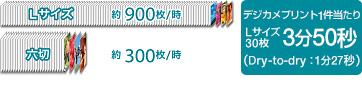 Lサイズ約900枚/時 六切約300枚/時 デジカメプリント1件当たりLサイズ30枚3分50秒(Dry-to-dry:1分27秒)
