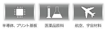 半導体、プリント基板 医薬品原料 航空、宇宙材料