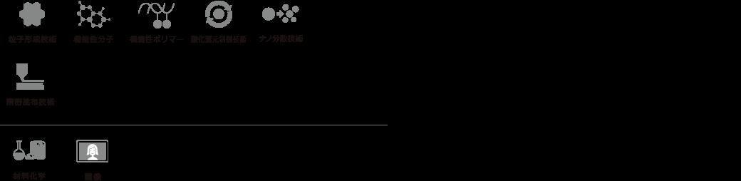 粒子形成技術 機能性分子 機能性ポリマー 酸化還元制御技術 ナノ分散技術 材料化学 画像
