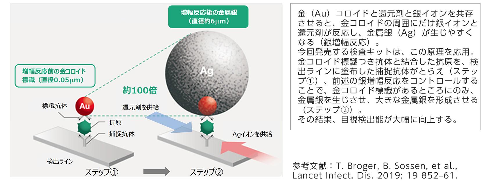 [図]今回発売する抗原検査キットに応用した銀増幅技術