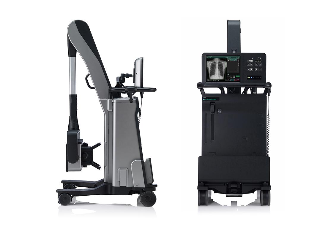 [画像]「小型軽量で機動性に優れた移動型X線撮影装置の意匠」が施された移動型デジタルX線撮影装置「CALNEO AQRO」