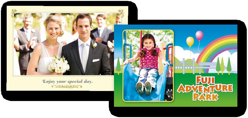 [photo] 신랑신부의 웨딩 사진, 미끄럼틀을 타고 내려가는 어린이의 놀이공원 템플릿 사진