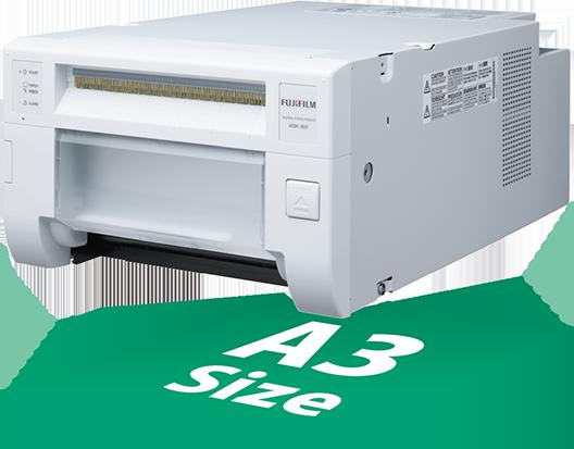 [image] ASK-300 프린터는 A3 크기 용지와 동일한 공간과 설치 면적을 차지합니다.