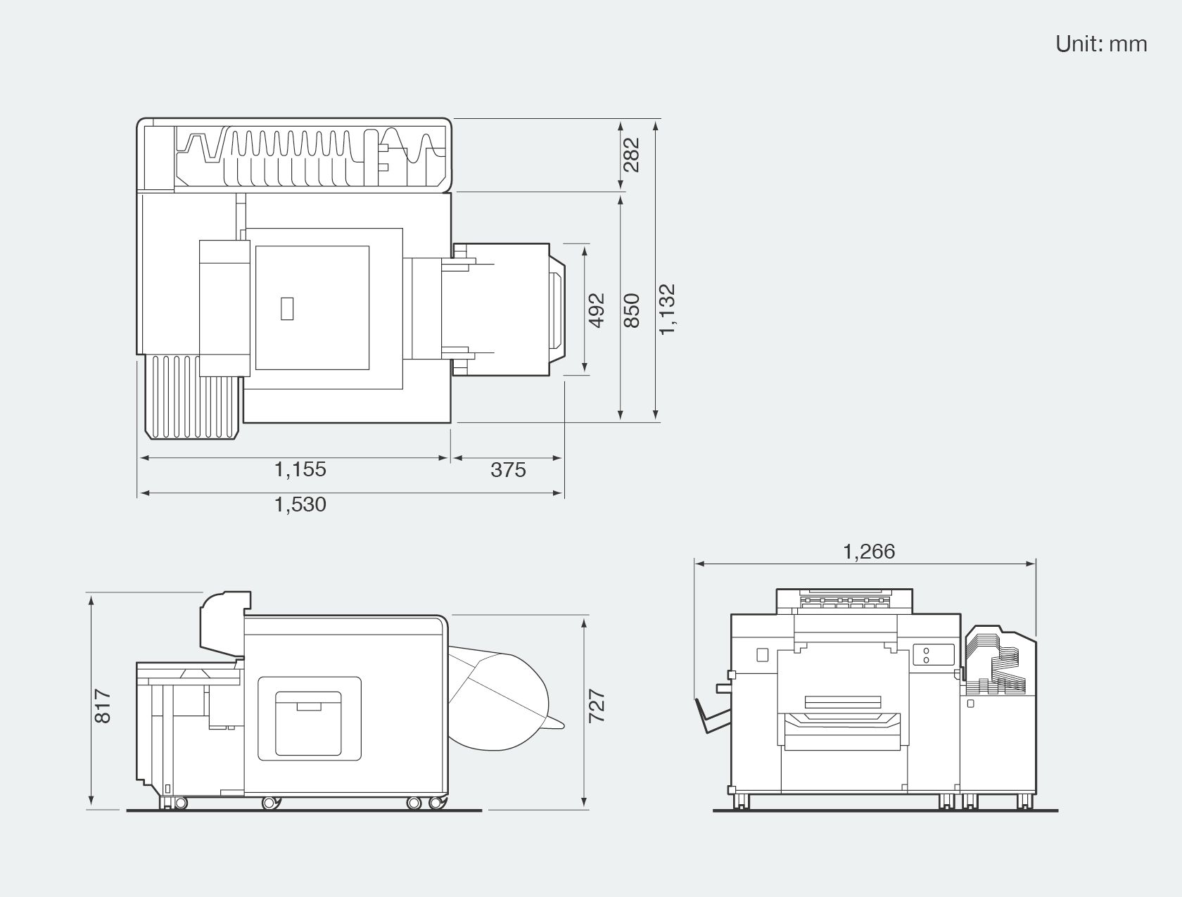 [image] Front, side, and top view graphic of Frontier DL650 PRO which shows height, width, and depth dimensions