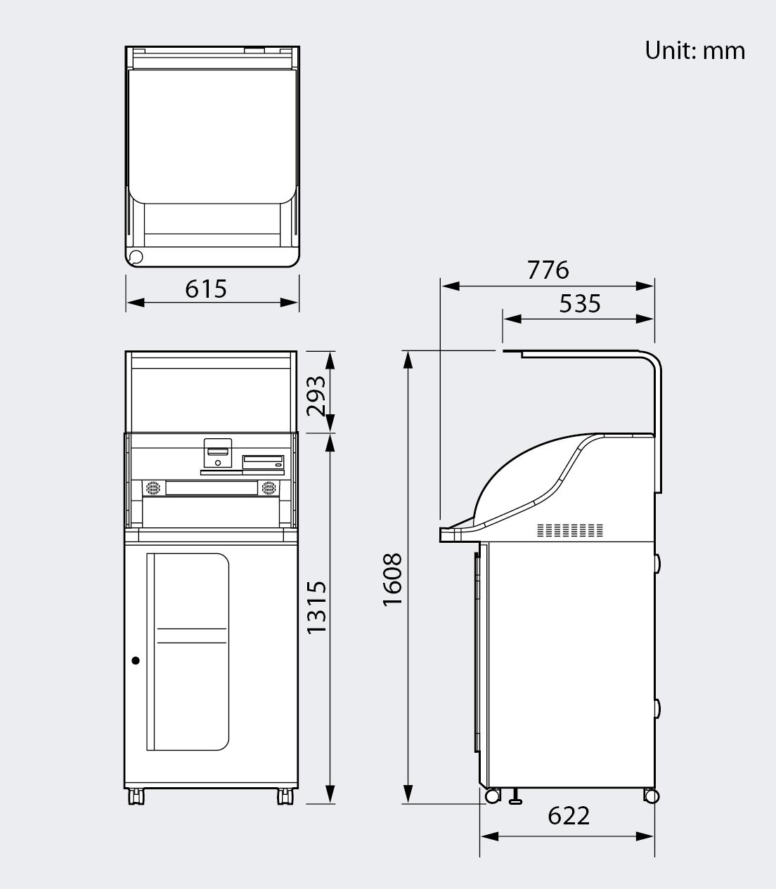 [image] 높이, 너비, 깊이를 보여주는 Wonder Print Station의 전면, 측면 및 상단 뷰 그래픽