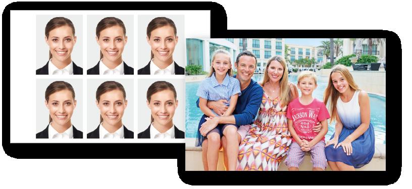 [photo] 나란히 있는 두 장의 사진: 신분증 사진과 수영장 앞에 있는 가족의 휴가 사진