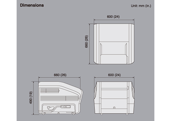 [이미지] 이미지 뷰어/측정 소프트웨어 Dynamix VU의 상단(600x620), 측면(660x490) 및 후면(600) 치수(단위)