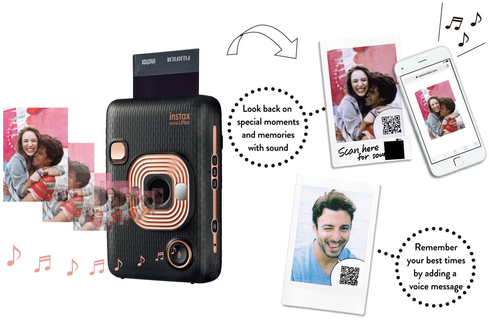 [image] Promotional graphic to Record sounds into a QR Code and add it to your photo feature of the with Instax Mini LiPlay in Elegant Black with sample photo prints, a mobile view and promotional text
