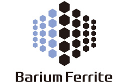 [logo] Barium Ferrite text underneath a group of smaller blue and black polygons that form a bigger polygon