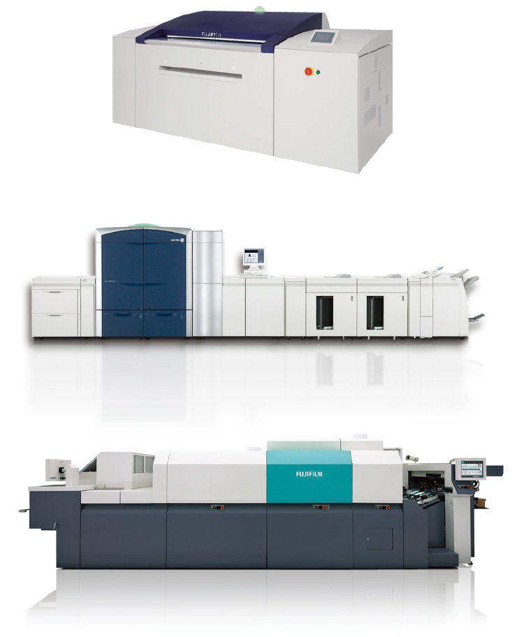[image] Side view of three Fujifilm digital and offset production machines stacked on top of each other