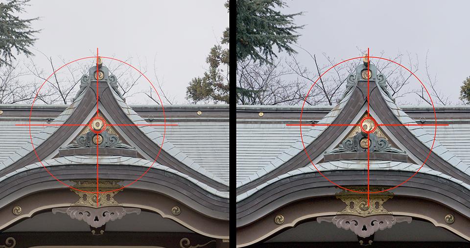 [사진] 억제된 광축 이동을 나란히 비교한 모습
