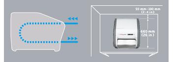 [이미지] 방향 화살표로 인쇄 워크플로를 보여주고, 항공 도면으로 DynamIx HR2 치수를 보여주는 DynamIx HR2