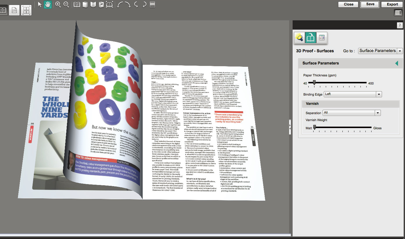 [image] 3D digital mock-up of an open magazine created using APPE and XMF Workflow
