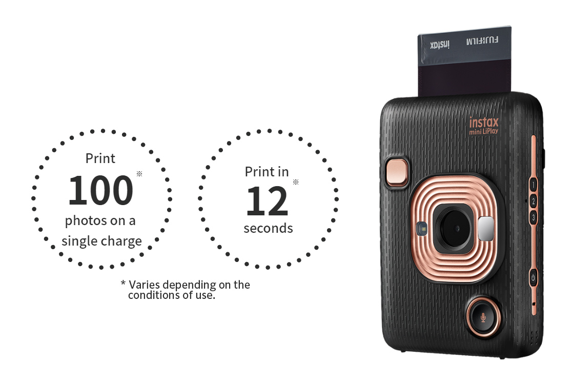"""[photo] Instax Mini LiPlay in elegant black and """"Print 100 photos on a single charge"""" and """"Print in 12 seconds"""" text"""