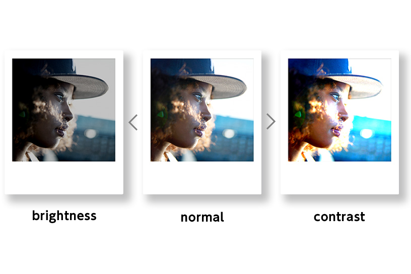 [photo] 3개의 서로 다른 밝기와 명암 필터를 적용한 동일한 사진 3개