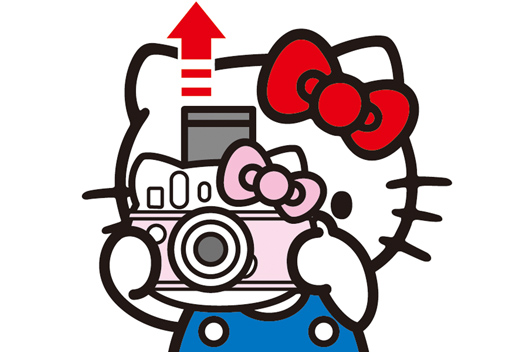 [image] 인스탁스 미니 헬로키티 카메라를 들고 사진을 인쇄하는 키티 클립아트