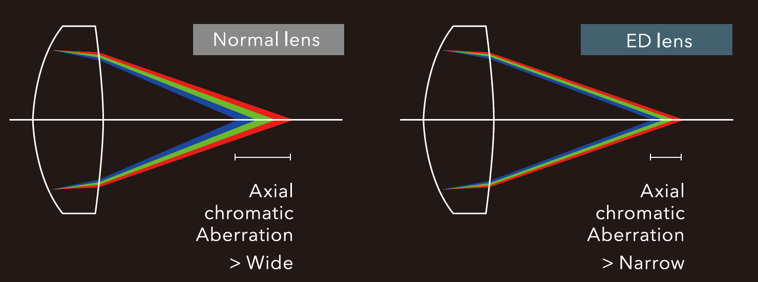 [image] Side by side graphical rendering of Normal Lens vs Conventional lenses measuring the narrow and wide chromatic aberration of the ED Lens