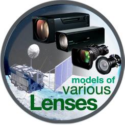 [이미지] 달 풍경과 위성 배경 앞에 놓인 다양한 렌즈 모델