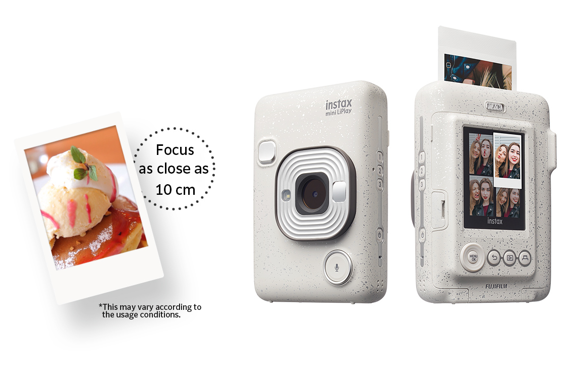 """[photo] """"Focus as close as 10cm"""" text with a sample print and the front and rear view of the Instax Mini LiPlay in Stone White"""