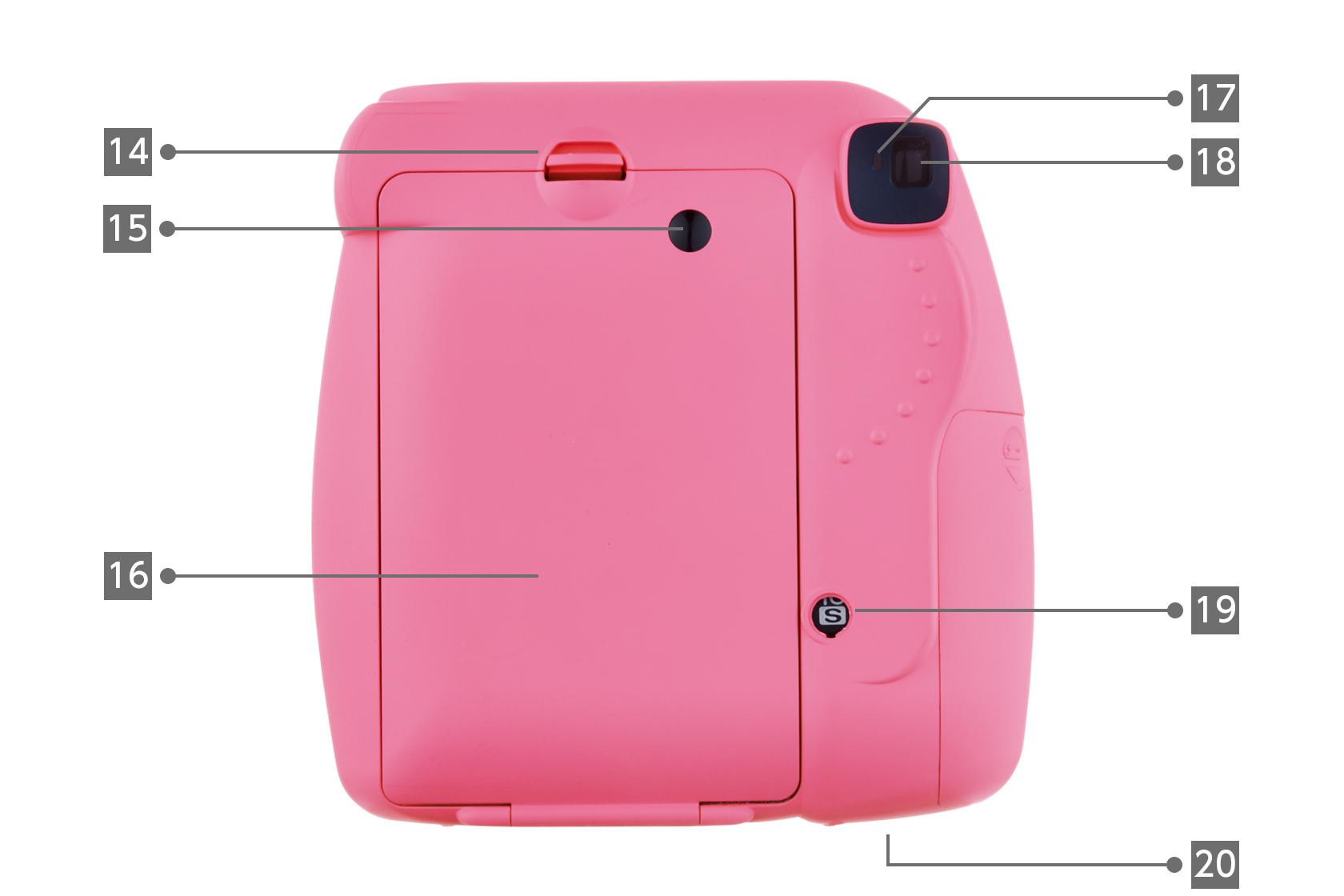 [사진] 14~20으로 표시된 다양한 구성품이 있는 핑크 인스탁스 미니 9 카메라의 후면도