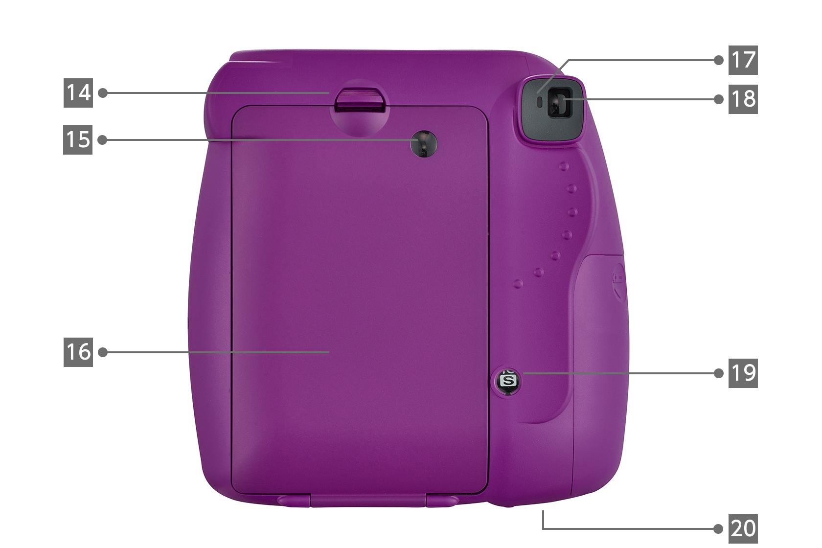 [사진] 14~20으로 표시된 다양한 구성품이 있는 핑크 인스탁스 미니 9 한정판 필름 카메라의 후면도