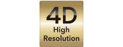 [로고] 금색 배경에 흑색으로 표시된 4D High Resolution 텍스트