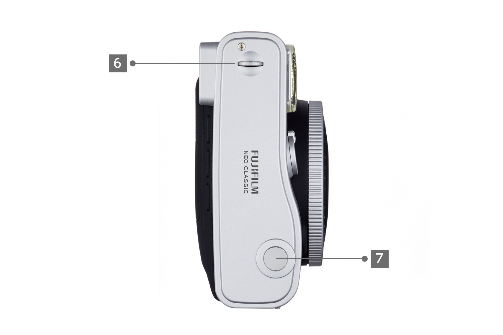 [photo] Side view of the Instax Mini 90 camera with different parts labeled 6 and 7
