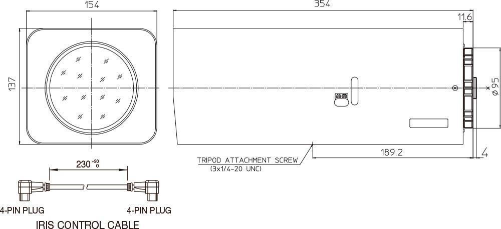 [photo] 장비 측면 및 전면의 줌 렌즈 치수 개요도