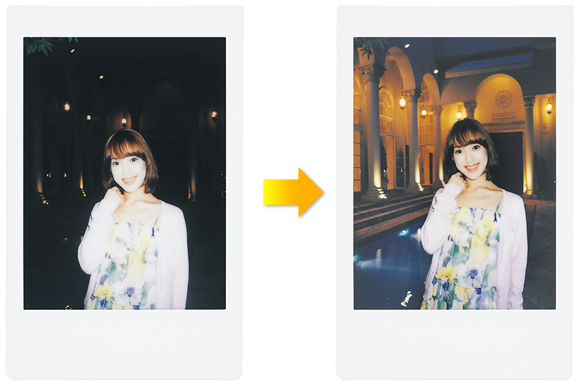 [photo] Side by side photo print outs showing the automatic exposure control feature of the Instax Mini 70