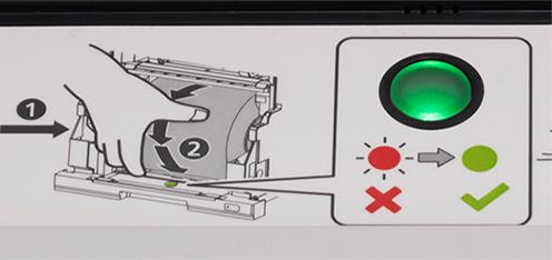 [image] 프린터에 용지 롤이 올바르게 삽입되었음을 알려주는 녹색등